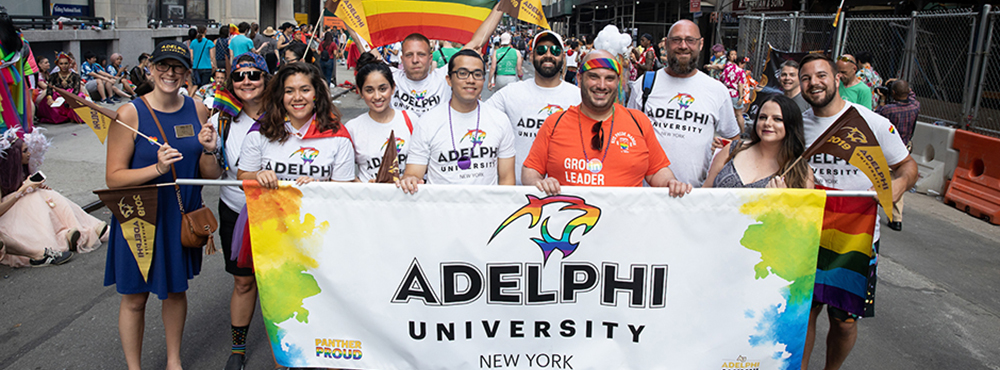 Members of the Adelphi community at the NYC WorldPride March